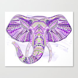 Purple Ethnic Elephant Canvas Print