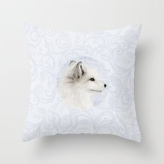 Polar Fox Profile Throw Pillow