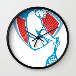 Tennis Player Racquet Shield Retro Wall Clock