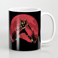 evangelion Mugs featuring Neon Genesis Evangelion Unit 01 - Hill Top by kamonkey