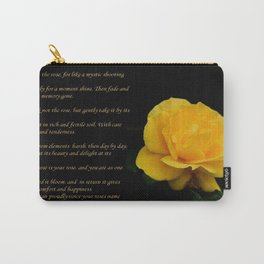 Yellow Rose Greeting Card With Verse - Pluck Not the Rose Carry-All Pouch
