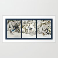 Blue Jay action Art Print