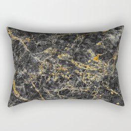 Black and Gold Marble Rectangular Pillow