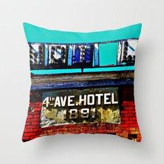 4th Avenue Hotel Throw Pillow