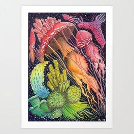 Mushroom Jellyfish Illustration -Rainbow Ocean Art Print