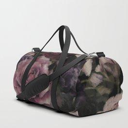 Roses In Burgundy And Pink Vintage Botanical Garden Flowers Duffle Bag