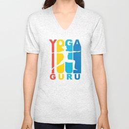 Retro 1970's Style Yoga Guru Unisex V-Neck