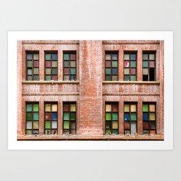 Brick wall with multicolor frames-windows. Art Print