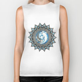Yin and Yang Butterfly Koi Fish Mandala Biker Tank