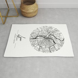 Lyon Area City Map, Lyon Circle City Maps Print, Lyon Black Water City Maps Rug