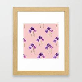 Three Little Violets - Rose Quartz Pink Framed Art Print