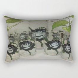 Unique Rose (Hand-painted Vase & Six-Glass Set) Rectangular Pillow