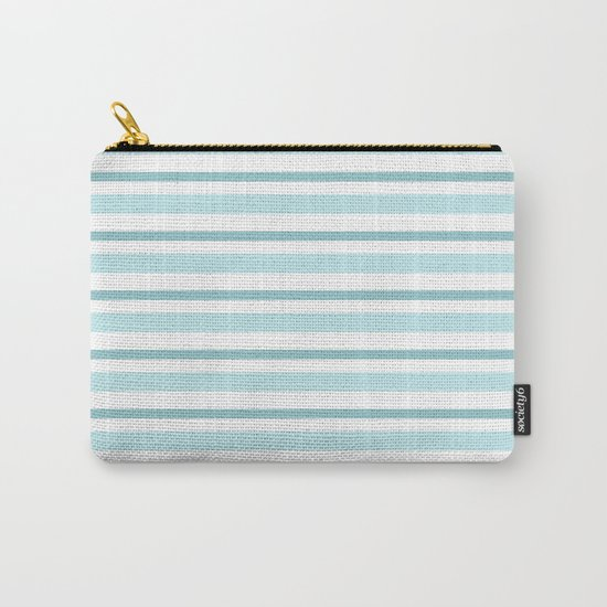 Stripes Lines horizontal - different colors of blue aqua #Society6 Carry-All Pouch
