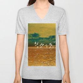 A Flock of White Pelicans Watercolor Unisex V-Neck
