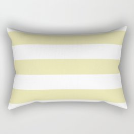 Pale goldenrod - solid color - white stripes pattern Rectangular Pillow