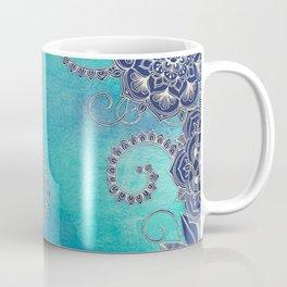 Mermaid's Garden - Navy & Teal Floral on Watercolor Coffee Mug