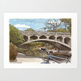 Arboretum bridge, UC Davis Art Print