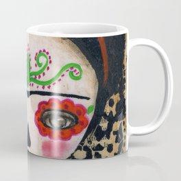 Frida The Catrina And The Skull - Dia De Los Muertos Mixed Media Art Coffee Mug