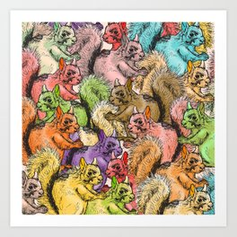 Squirrels Parade Art Print