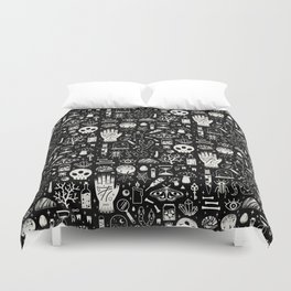 Curiosities: Bone Black Duvet Cover
