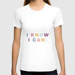I Know I Can Postive Print T-shirt