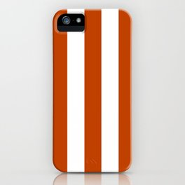 Mahogany red - solid color - white vertical lines pattern iPhone Case