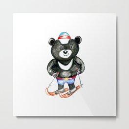 Bear on ski Metal Print