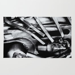 Machine Part BNW Abstract III Poster Print Rug
