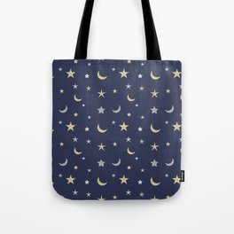 Gold and silver moon and star pattern on navy blue background Tote Bag