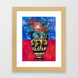 Lions and Tigers Vase with Protea Bouquet Framed Art Print