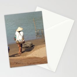 Lao Women going to the Market on the Mekong River Stationery Cards