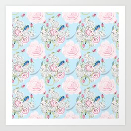 Shabby Chic Bluebirds and Watercolor Roses on pale blue Art Print