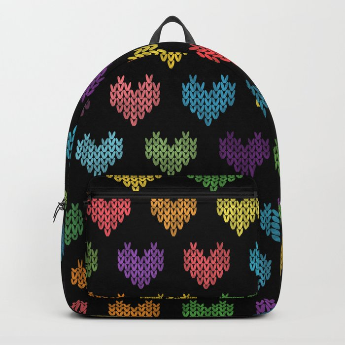 Colorful Knitted Hearts Backpack