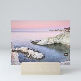Higuera Cala. Cabo de Gata Natural park. At pink sunrise. Spain Mini Art Print