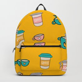 Happy coffee cups and mugs in yellow background Backpack