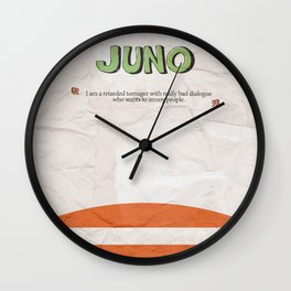 Juno - Alternative Movie Poster, classic movie, funny movie, minimal movie poster Wall Clock