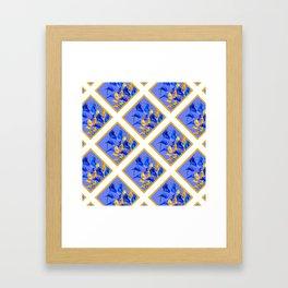 PATTERNED MODERN ABSTRACT BLUE & GOLD CALLA LILIES Framed Art Print