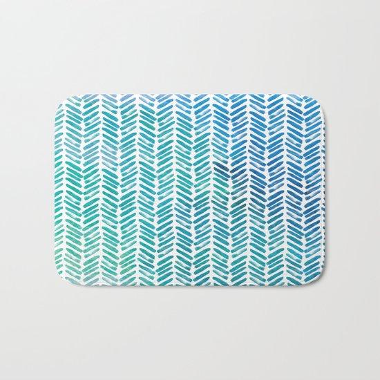 Handpainted Herringbone Chevron pattern-small-aqua watercolor on white Bath Mat
