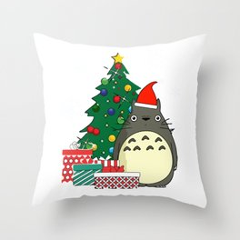 Christmas Tree Studio Ghibli Throw Pillow