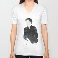 sherlock V-neck T-shirts featuring Sherlock by daniel