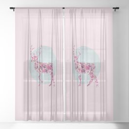 Flower Deer and circle pastel blue pink colors Sheer Curtain
