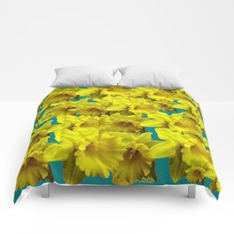 YELLOW SPRING DAFFODILS ON TEAL COLOR ART Comforters