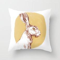 Yellow Hare Throw Pillow