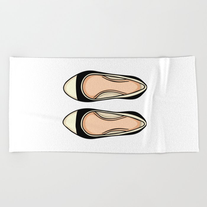 Beige And Black Ballet Flat Shoes Beach Towel