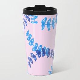Pink and blue leaf pattern Travel Mug