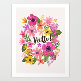 Hello floral typography Art Print