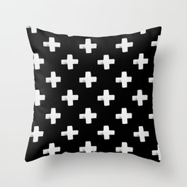 Black and white graphic Swiss Cross print Throw Pillow
