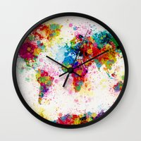 map Wall Clocks featuring Map of the World Map Paint Splashes by artPause