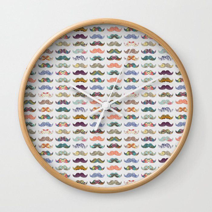 Mustache Mania Wall Clock