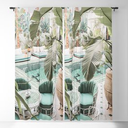 Travel Photography Art Print | Tropical Plant Leaves In Marrakech Photo | Green Pool Interior Design Blackout Curtain